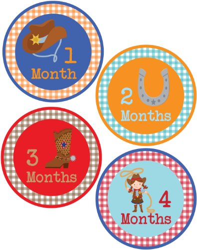Baby Boy Cowboy Monthly Onesie Sticker With Gingham Pattern - Waterproof And Durable - Includes 1-12 Month Stickers