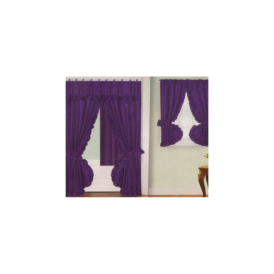 Purple Fabric Double Swag Shower Curtain With Matching Window Curtain And Vinyl Liner On Popscreen
