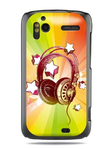 """Grüv Premium Case - """"Colorful Music Dj Headphones & Stars"""" Design - Best Quality Designer Print On Black Hard Cover - For Htc G14 G18 Sensation Xe 4G Z710E"""