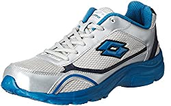 Lotto Men's Tempo Sliver and Blue Mesh Running Shoes - 9 UK