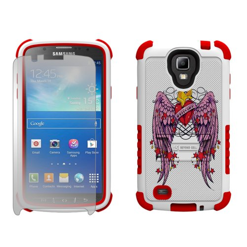 Beyond Cell Tri-Shield Durable Hybrid Hard Shell and Silicone Gel Case for Samsung Galaxy S4 Active i9252/i537 - Retail Packaging - White/Red/Wing Heart