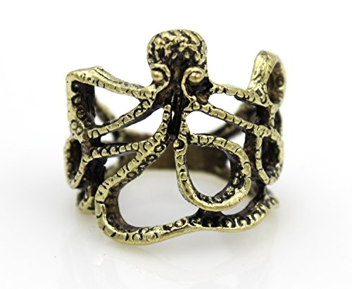 Steampunk Squid OCTOPUS Tentacles Wrap RING Nauctical Ocean Sea Creature gld
