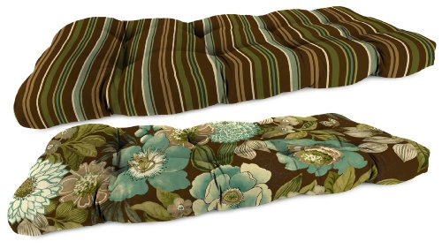 Jordan Manufacturing Reversible Tufted Wicker Settee Cushion, Jolene Floral/Stripe Chocolate photo