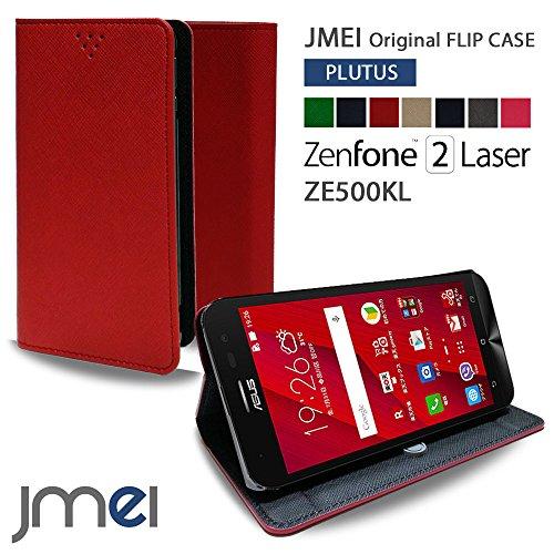 ZenFone2 Laser ZE500KL ケース jmeiオリジナルフリップケース PLUTUS レッド 楽天モバイル simフリー ASUS エイスース ゼンフォン 2 レーザー スタンド機能付き スマホ カバー スマホケース 手帳型 スマートフォン