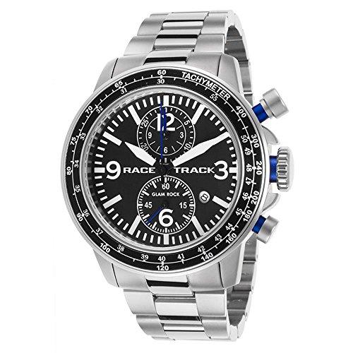 Glam Rock Racetrack Reloj de hombre cuarzo suizo 47mm cronógrafo correa y caja de acero GRT29108F-BR