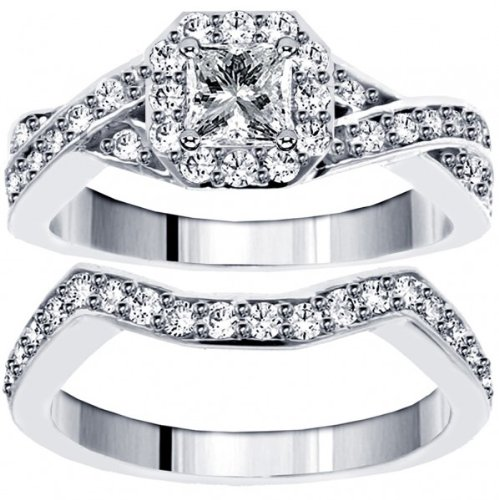 1.30 CT TW Braided Princess Cut Diamond Engagement Wedding Band Set in 14k White Gold