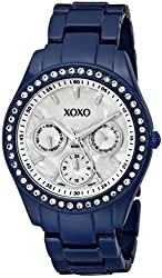 XOXO Women's XO5299A Rhinestone Accent Dark Blue Enamel Bracelet Watch