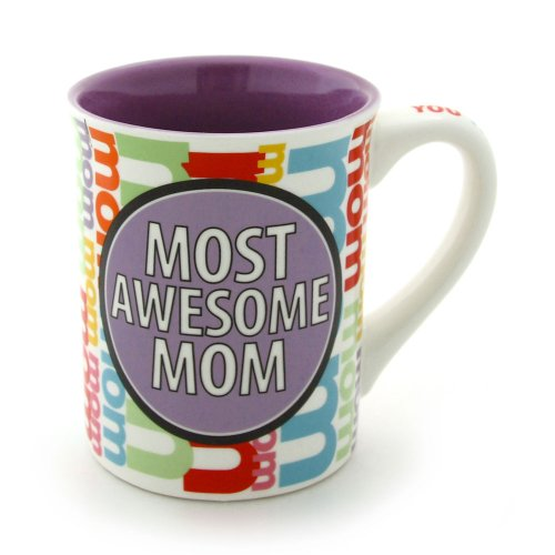 Enesco Our Name is Mud by Lorrie Veasey 16-Ounce Most Awesome Mom Mug, 4.5-Inch