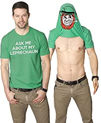 Ask Me About My Leprechaun T Shirt Funny Saint Patricks Day Flip Tee by Crazy Dog Tshirts