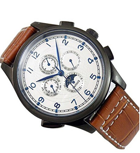 Fanmis White Globe Dial Blue Sapphire Number Black Case Moon Phase Automatic Mechanical Mens Womens Watch