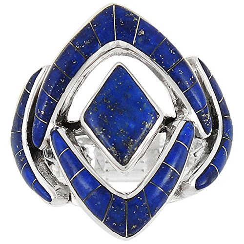 925 Sterling Silver Ring with Genuine Lapis Sizes