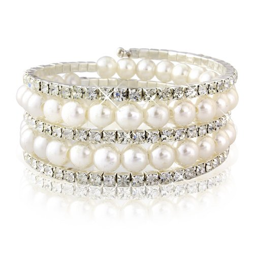 WHITE IVORY PEARL BRACELET - BANGLE -WITH WHITE SWAROVSKI ELEMENT CRYSTALS - GIFT BOXED FOR HER