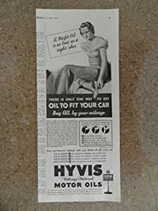 Hyvis mileage-metered motor oil, Vintage 30's print ad (woman/tight shoe)Original vintage 1935 Collier's Magazine Print Art.