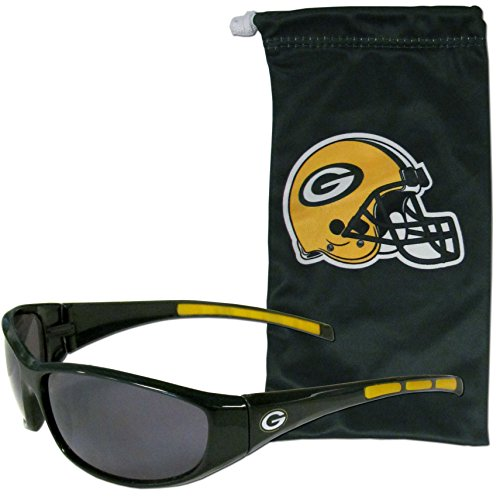 NFL Green Bay Packers Adult Sunglass and Bag Set, Green by SISAT Optical Items