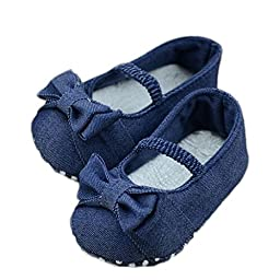 FEITONG Baby Bowknot Denim Toddler Princess First Walkers Girls Kid Shoes (Age4~8 Month, Blue)