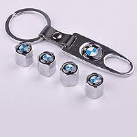 4 Car Wheel Tire Valve Stem Air Caps Covers 1 Set Plus Bonus Keychain For Bmw Silver by D&R