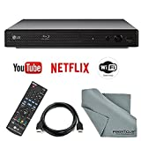 LG Electronics BP350 Smart Blu-Ray Disc Player and HDMI Cable + Remote + FiberTique Cleaning Cloth