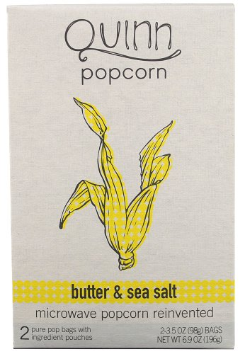 Quinn Natural Microwave Popcorn Butter And Sea Salt, 6.9Oz (Pack Of 6)