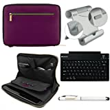 Faux Leather Carrying Bag Sleeve Case For Amazon Kindle Fire HD HDX 7-inch Tablet + Bluetooth Keyboard + Metal Stand + Stylus