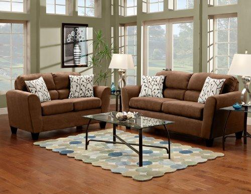 Chocolate Elegant Micro Fiber Sofa & Loveseat Living Room Set