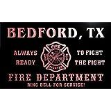 qy66649-r FIRE DEPT BEDFORD, TX TEXAS Firefighter Neon Sign Barlicht Neonlicht Lichtwerbung