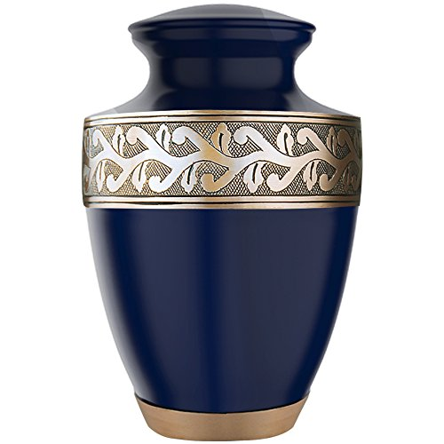 Funeral Urn by Meilinxu - Cremation Urns for Human Ashes Adults and Memorial Urn - Design is Hand Engraved in Brass - Burial Urns At Home or in Niche at Columbarium (Accents Gorgeous Blue, Large Urn) (Medium Size Urns For Human Ashes compare prices)