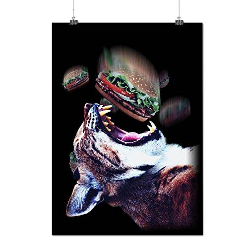 Affamato Burger Gatto Animale Cibo Opaco/Lucida Poster A1 (84cm x 60cm) | Wellcoda