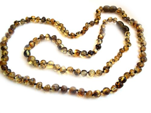 Amberta® Set of 2 Baltic Amber Necklaces for Mother and Child - Baroque Shaped Beads - Green Colour [MS02]