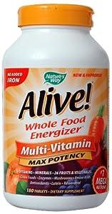(保健)活力宝天然活力营养素180粒 Nature's Way Alive!,$S&S后19.93