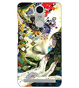 PrintDhaba COLOURFUL FACE D-6776 Back Case Cover for LENOVO K5 NOTE (Multi-Coloured)