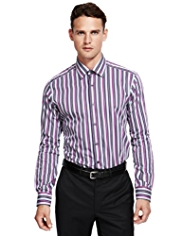 2in Longer Autograph Luxury Pure Cotton Double Striped Shirt