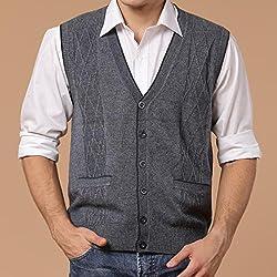 Tourwin Men Vest Fall Winter Woollen V-neck Solid Color Warm Cardigan Waistcoat Knit Sleeveless Sweater