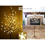 TEKTRUM TD-CT-72H108WW Warm White LED Lighted Cherry Blossom Flower Tree for Christmas/Holiday/Party, 6.5-Feet