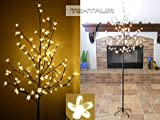TEKTRUM TD-CT-72H108WW Warm White LED Lighted Cherry Blossom Flower Tree for Christmas Holiday Party - 6.5-Feet