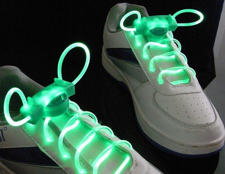 Coffled®1Pair Led Light Up Shoe Shoelaces Flash Glow Stick Shoestring For Outdoor Sports Green