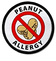 PEANUT ALLERGY Black Rim Medical Alert 2.5 inch Black Rim Sew-on Patch from Creative Clam