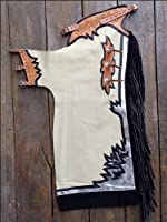 Hilason Pro Rodeo Bronc Bull Riding Show Smooth Leather Chaps White Silver Black by HILASON