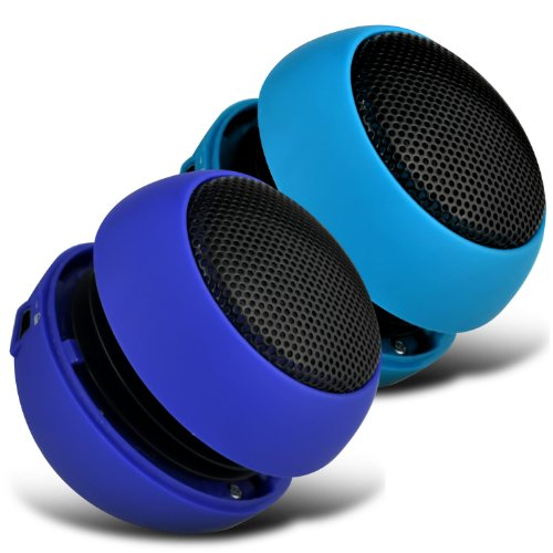 Xolo Q1100 2 Colour Pack Mini Capsule Travel Rechargable Loud Bass Speaker 3.5Mm Jack To Jack Input (Baby Blue And Dark Blue) By Spyrox