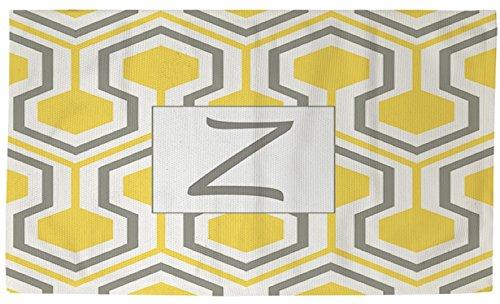Thumbprintz Dobby Bath Rug, 4 By 6-Feet, Monogrammed Letter Z, Yellow Honeycomb
