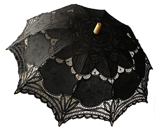 Black Lace Parasol Victorian Battenburg Sun Umbrella for Bridal Party Wedding Decoration Photography Props
