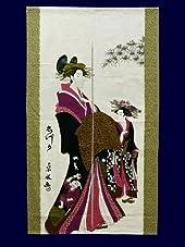 和柄 浮世絵のれん 美人画「志津可」 国産 85cm×150cm No.1005