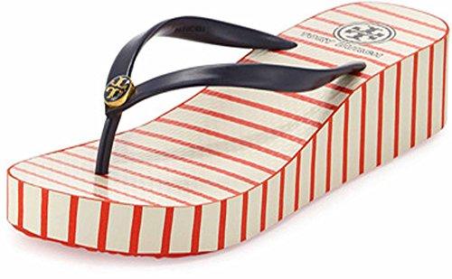 Thadine Rubber Wedge Flip Flop, Red/Navy, Sz 8/38
