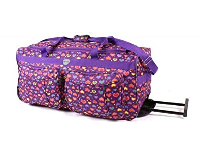 "Womens & Mens & Girls, Floral Design 26"" Wheeled Purple Love Heart Holdall Weekend Bag, Maternity Bag, Hospital ...(IDEAL TRAVEL FLIGHT BAG HOLIDAY SPORT GYM BAG,) from holdall"