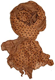 LibbySue-Border Print Polka-Dot Crinkle Scarf in a Choice of Colors