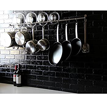 Lyon Stainless Steel Gourmet Kitchen 47.25 Inch Wall Mount Rail and 10 S Hooks Set Utensil Pot Pan Lid Rack Storage Organizer , Silver