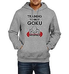 Fanideaz Men's Cotton Training to Beat Goku DBZ Hoodies For Men (Premium Sweatshirt)_Grey Melange_XL