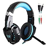 SENHAI G9000 3.5mm Game Gaming Headphone Headset Earphone Headband with Microphone LED Light for Computer Tablet Mobile Phones PS4 - Black and Blue (Color: Blue-G9000)