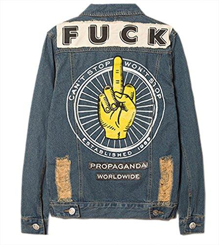 Nanquan Ssx Tm Men'S Cool Hip-Hop Floral Letter Washed Denim Blouse Jacket Coat As Picture