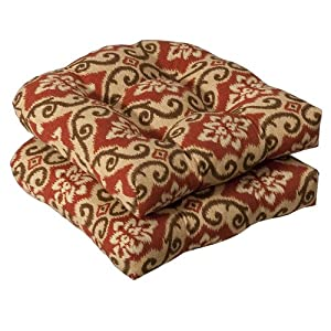 Pillow Perfect Indoor/Outdoor Red/Tan Damask Wicker Seat Cushions, 2-Pack from Pillow Perfect