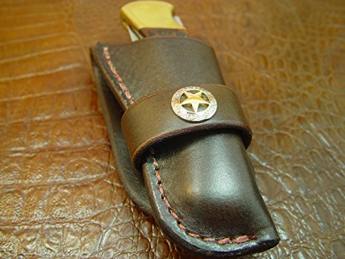 "Buck 110 Western-style Pocket Knife Sheath. The Sheath Is Made Out of 10 Oz Water Buffalo Hide Leather. The Buffalo Leather Is Very Soft, Durable and Pliable. The Leather Is Dyed Dark Brown with a Ranger Star Concho on the Sheath. The Sheath Will Take up to 2"" Belt. This Is for Sheath Only. Knife Not Included. Thanks for Looking!"